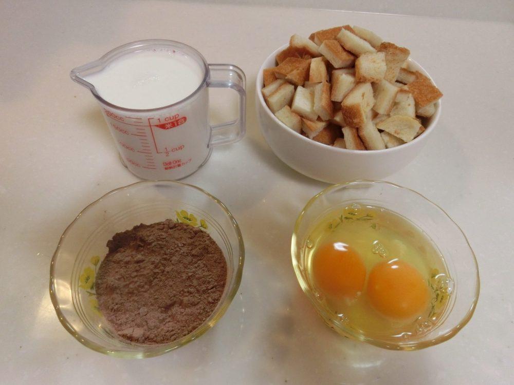 パン耳ココアケーキ 材料