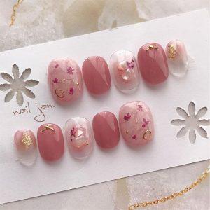花柄ネイル ピンク