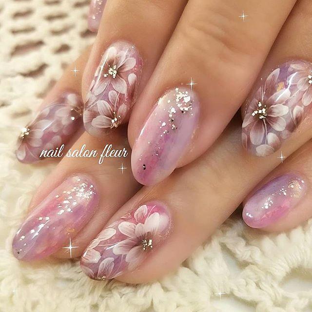 ネイル 花 ピンク