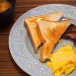スクランブルエッグ オニオンスープ 朝食