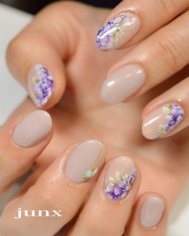 ネイル 藤 紫