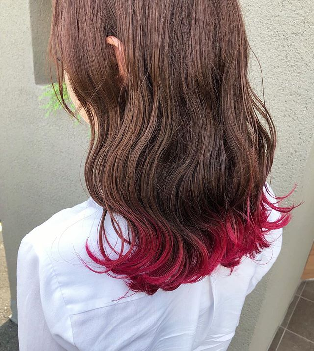 ヘアカラー ピンク