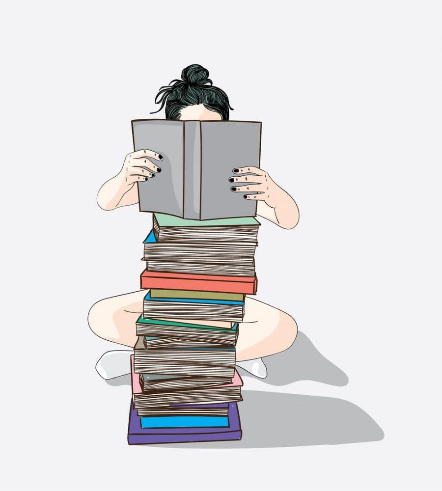 本を読んでいる女性 イラスト