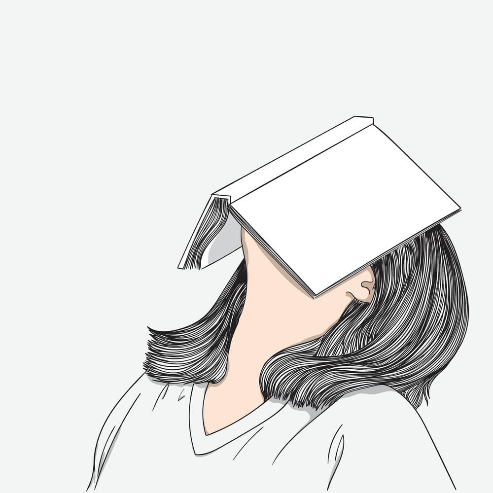 本を頭にのせて考えている女性 イラスト