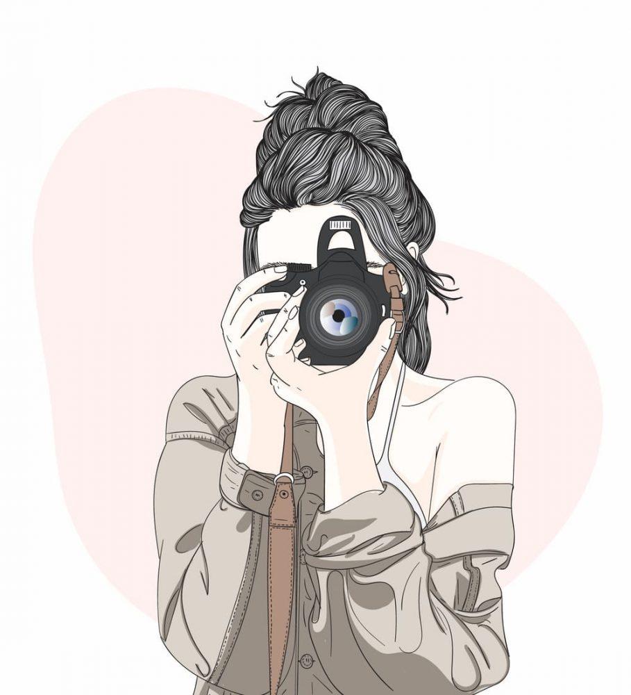 カメラを持っている女性 イラスト